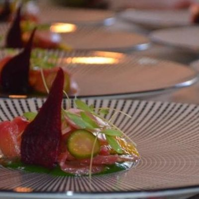 Salmon starter with beetroot