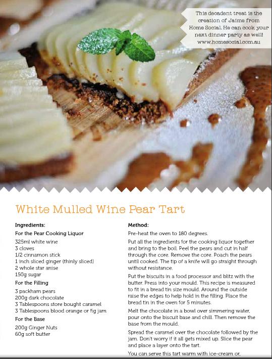 recipe or mulled wine pear tart